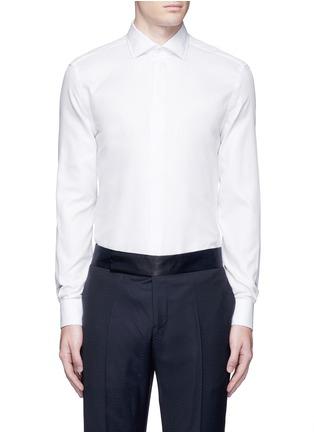 Main View - Click To Enlarge - Armani Collezioni - Textured cotton tuxedo shirt