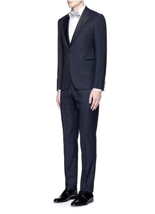 Figure View - Click To Enlarge - Armani Collezioni - Textured cotton tuxedo shirt