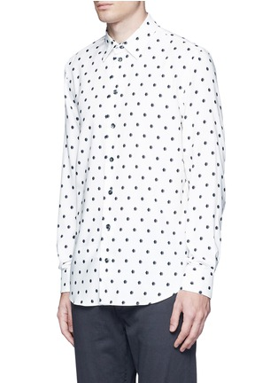 Front View - Click To Enlarge - Armani Collezioni - Diamond print cotton blend shirt