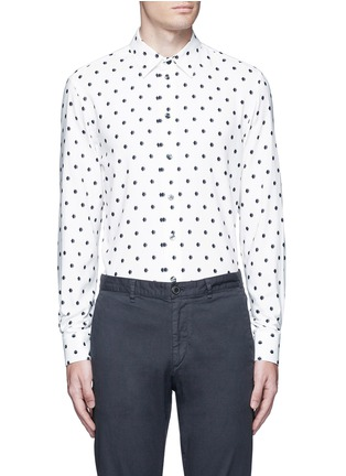 Main View - Click To Enlarge - Armani Collezioni - Diamond print cotton blend shirt
