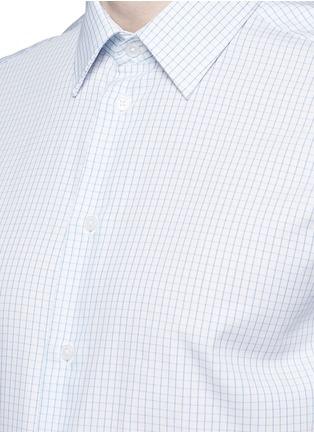 Detail View - Click To Enlarge - Armani Collezioni - Check grid cotton shirt