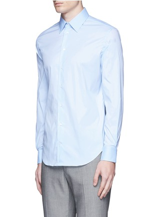 Front View - Click To Enlarge - Armani Collezioni - Slim fit stretch poplin shirt