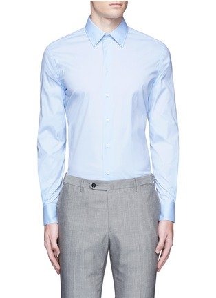 Main View - Click To Enlarge - Armani Collezioni - Slim fit stretch poplin shirt