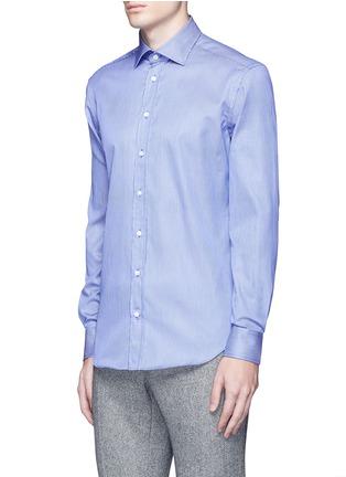Front View - Click To Enlarge - Armani Collezioni - Slim fit stripe cotton shirt