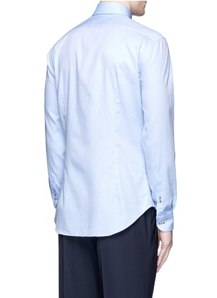 Back View - Click To Enlarge - Armani Collezioni - Contrast dobby stripe cotton shirt
