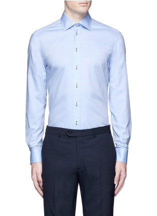 Main View - Click To Enlarge - Armani Collezioni - Contrast dobby stripe cotton shirt