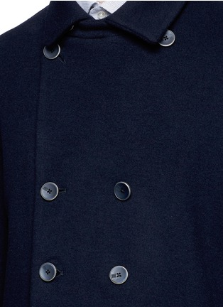 Detail View - Click To Enlarge - Armani Collezioni - Wool blend flannel peacoat