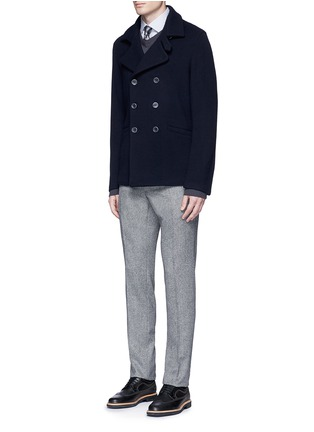 Figure View - Click To Enlarge - Armani Collezioni - Wool blend flannel peacoat