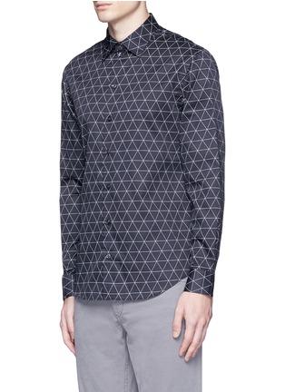 Front View - Click To Enlarge - Armani Collezioni - Diamond print cotton shirt