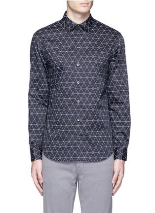Main View - Click To Enlarge - Armani Collezioni - Diamond print cotton shirt