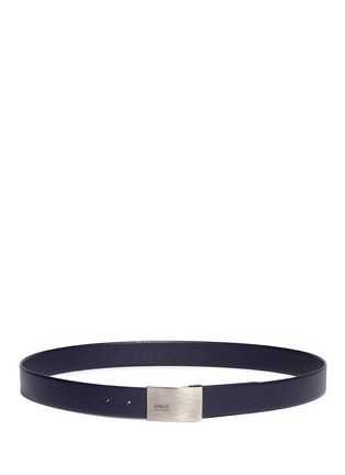 Main View - Click To Enlarge - Armani Collezioni - Metal plate leather belt