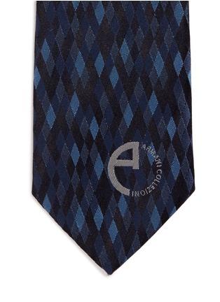 Detail View - Click To Enlarge - Armani Collezioni - Diamond jacquard silk tie