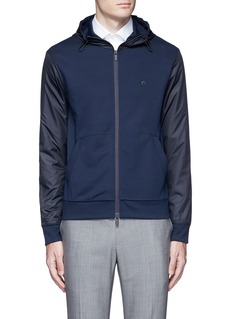 Armani Collezioni Tech fabric sleeve and hood blouson jacket
