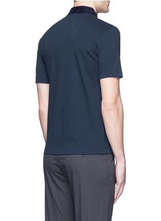 Back View - Click To Enlarge - Armani Collezioni - Velvet collar slim fit polo shirt