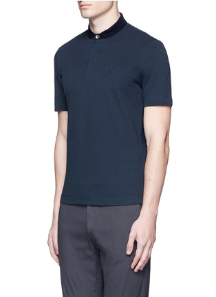 Front View - Click To Enlarge - Armani Collezioni - Velvet collar slim fit polo shirt