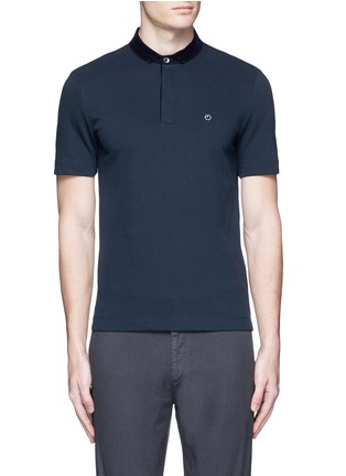 Main View - Click To Enlarge - Armani Collezioni - Velvet collar slim fit polo shirt