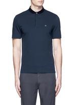 Velvet collar slim fit polo shirt
