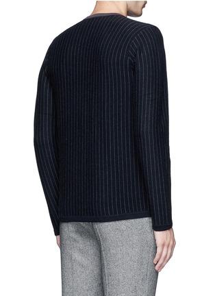 Back View - Click To Enlarge - Armani Collezioni - Pinstripe cashmere sweater