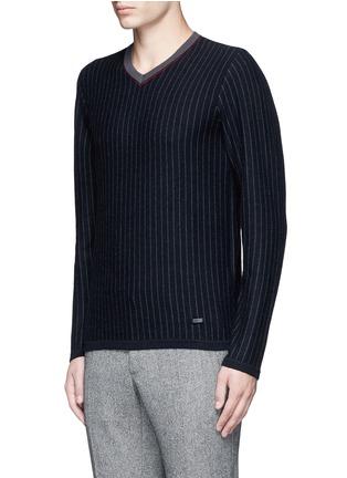 Armani Collezioni-Pinstripe cashmere sweater