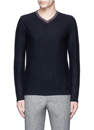 Main View - Click To Enlarge - Armani Collezioni - Pinstripe cashmere sweater