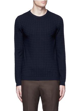 Main View - Click To Enlarge - Armani Collezioni - Geometric jacquard sweater