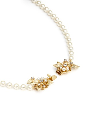 Detail View - Click To Enlarge - Miriam Haskell - Crystal glass pearl strand leaf clasp necklace