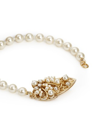Detail View - Click To Enlarge - Miriam Haskell - Swarovski crystal glass pearl teardrop clasp bracelet
