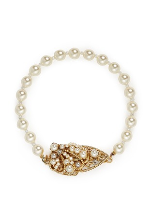 Main View - Click To Enlarge - Miriam Haskell - Swarovski crystal glass pearl teardrop clasp bracelet