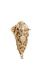 Crystal glass pearl leaf filigree drop earrings
