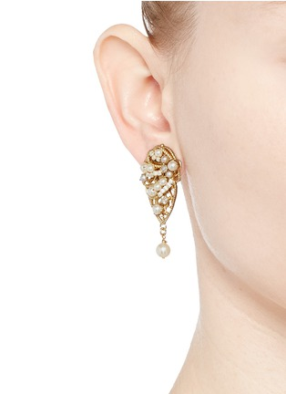 Figure View - Click To Enlarge - Miriam Haskell - Crystal glass pearl leaf filigree drop earrings