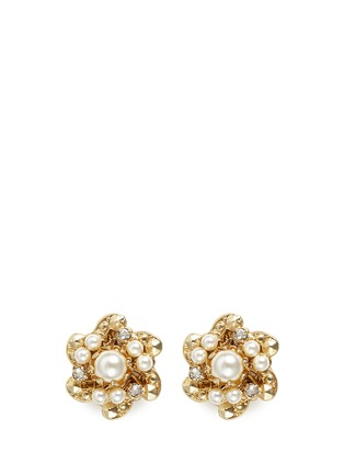 Main View - Click To Enlarge - Miriam Haskell - Crystal glass pearl floral swirl stud earrings