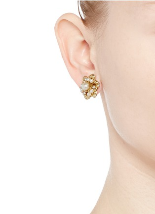 Figure View - Click To Enlarge - Miriam Haskell - Crystal glass pearl floral swirl stud earrings