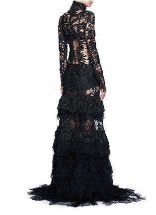 背面 - 点击放大 - JINNNN - 塑胶感涂层网纱曳地连衣裙