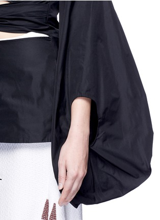 Detail View - Click To Enlarge - Rosie Assoulin - Fig sleeve cutout tie front taffeta top