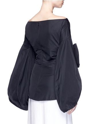 Back View - Click To Enlarge - Rosie Assoulin - Fig sleeve cutout tie front taffeta top