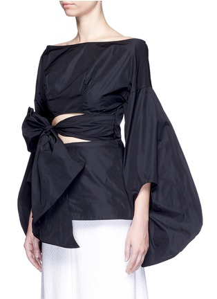 Front View - Click To Enlarge - Rosie Assoulin - Fig sleeve cutout tie front taffeta top
