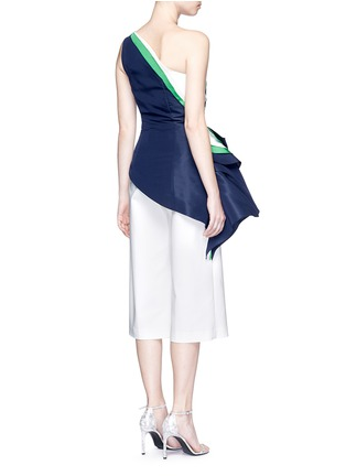 Back View - Click To Enlarge - Rosie Assoulin - 'O'Keefe' asymmetric ruffle one-shoulder silk faille top