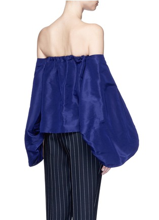Back View - Click To Enlarge - Rosie Assoulin - Balloon sleeve silk faille off-shoulder top