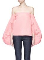 Balloon sleeve silk faille off-shoulder top