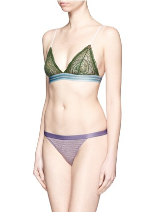 Figure View - Click To Enlarge - Love Stories - 'Darling' stripe elastic lace triangle bralette