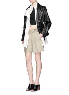 3.1 PHILLIP LIMDetachable silk vest leather combo biker jacket