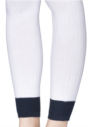 Detail View - Click To Enlarge - ADIDAS X HYKE - Contrast cuff rib knit tights