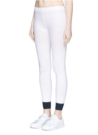 Front View - Click To Enlarge - ADIDAS X HYKE - Contrast cuff rib knit tights