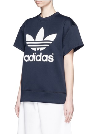 Front View - Click To Enlarge - ADIDAS X HYKE - 'HY SSL' Trefoil logo print boxy sweatshirt