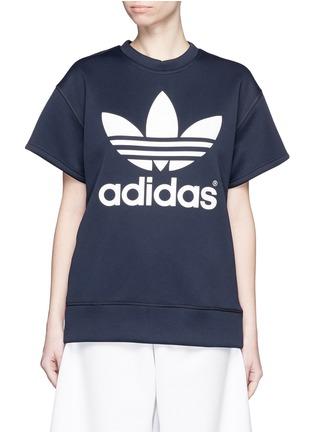 Main View - Click To Enlarge - ADIDAS X HYKE - 'HY SSL' Trefoil logo print boxy sweatshirt