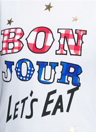 Detail View - Click To Enlarge - Etre Cecile  - 'Bonjour' mix embroidery print jersey T-shirt