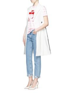 ETRE CECILE Mix gingham flamingo print T-shirt