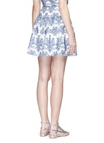Floral embroidery ruffle cotton skirt