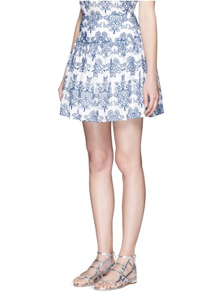 Front View - Click To Enlarge - Nicholas - Floral embroidery ruffle cotton skirt