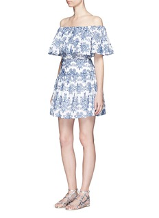 NICHOLASFloral embroidery ruffle cotton skirt